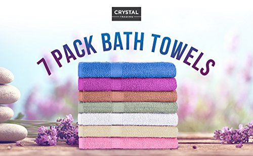 "CrystalTowels 7-Pack Bath Towels - Extra-Absorbent - 100% Cotton - 27"" x 52"" - OPTIMAL COMFORT. To provide long-lasting strength and use throughout the years, these Crystal Towels are made using 100% cotton fabric. The material is breathable and naturally soft to the touch, extremely pleasing against your skin so you can wrap yourself in soft comfort after bathing. GENEROUSLY SIZED. Practical for quick drying, ample coverage and comfortable lounging, each towel measures 27"" x 52"" in size. In addition to fulfilling your bath needs, this sufficient size makes them ideal for use on the beach or at a poolside. SUFFICIENT SUPPLY. Suitable for individuals, couples and families, these towels come in a convenient, 7-pack set to provide you with an ample supply. Everyone can enjoy the soft, plush comfort after bathing - with fewer washings in between. - bathroom-linens, bathroom, bath-towels - 51xqB7becPL -"
