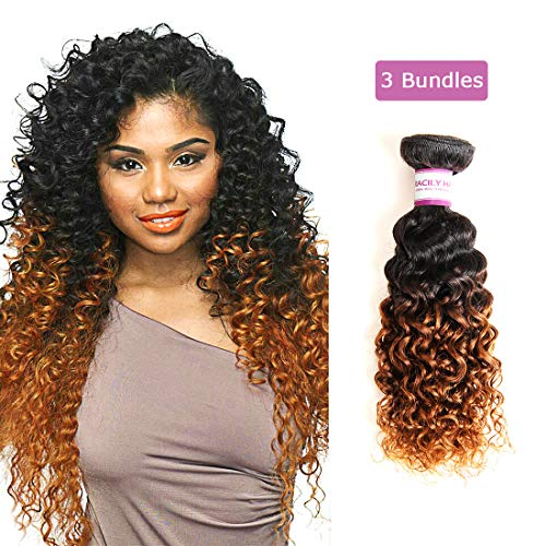 RACILY 1B/#30 Ombre Brazilian Kinky Curly Hair 3 Bundles, 10A Remy Dark Blonde Curly Weave Human Hair Extensions 100g, 100% Unprocessed Brazilian Virgin Hair Color Brown (10
