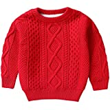 Kids Long Sleeve Crew Neck Vintage Chunky Twisted Warm Fleece Lined Knit Pullover Sweater for Toddler and Little Girls Boys, Red 2-3 Months = Tag 100