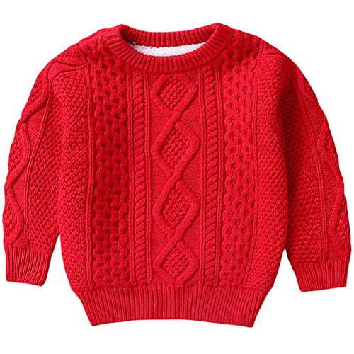 Kids Long Sleeve Crew Neck Vintage Chunky Twisted Warm Fleece Lined Knit Pullover Sweater for Toddler and Little Girls Boys, Red 12-18 Months = Tag 80