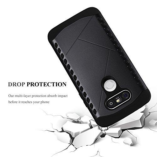 Cadorabo - TPU Silicona Carcasa Dura para LG G5 Híbrido Cover en Outdoor Heavy Duty Design - Casa Protectora HardCover HardCase Funda Case en GUARDA-NEGRA GUARDA-NEGRA