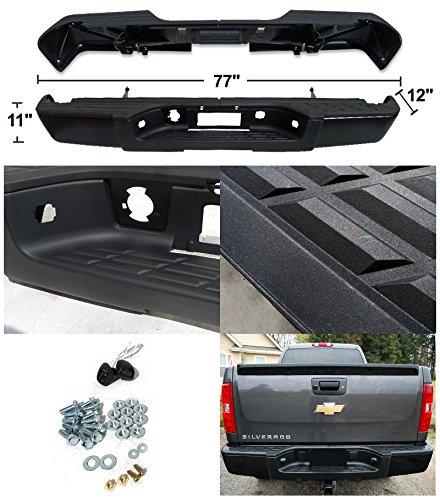 Chevy Silverado GMC Sierra 1500 Black Rear Bumper Step+Hardware W/O Sensor Holes by Spec-D Tuning