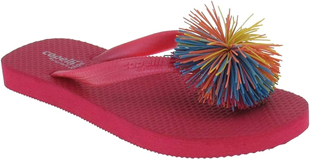 Capelli New York Jelly Thong with Koosh Ball Trim Girls Flip Flops