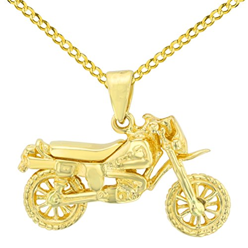 14k Gold Motorcycle (Solid 14K Yellow Gold Simple Motorcycle Bike Pendant with Cuban Chain Necklace, 20