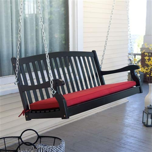CHOOSEandBUY Black Wood 4-Ft Porch Swing with Sienna Red Cushion and Hardware Swing Porch Patio Outdoor Furniture