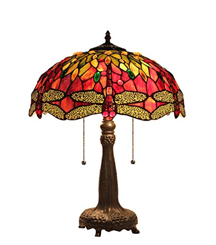 Chloe Lighting CH33471RD16-TL2 Empress Tiffany-Style Dragonfly 2 Light Table Lamp, 21.1 x 16.14 x 16.14 , Multicolor