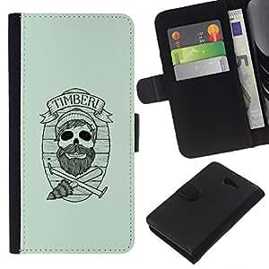 YiPhone /// Tirón de la caja Cartera de cuero con ranuras para tarjetas - Maderas del inconformista cráneo - Sony Xperia M2