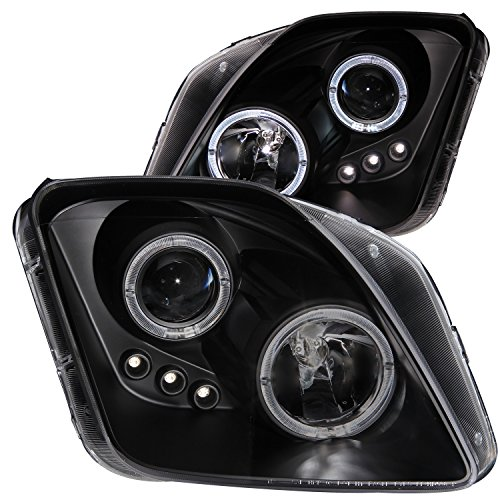 Prelude Led Projector (AnzoUSA 121341 Black Clear Projector Halo Headlight with LED for Honda Prelude - (Sold in Pairs))