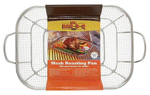 Mr. BBQ Stainless Steel Mesh Roasting Pan with Built in Stainless Steel Handles