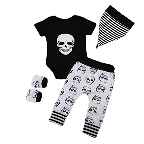 MOONHOUSE Halloween Infant Toddler Girls Boys❤️❤️Skull Print Romper+Pants+Hat+Gloves 4Pc Clothes Set for Baby Girls Boys ()
