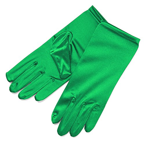 ZaZa Bridal Shiny Stretch Satin Dress Gloves Wrist Length 2BL-Kelly -