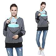 Womens Maternity Kangaroo Hooded Sweatshirt for Baby Carriers (S, Mint Green)