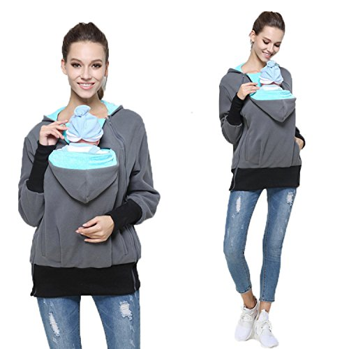 Womens Maternity Kangaroo Hooded Sweatshirt for Baby Carriers (M, Mint Green)