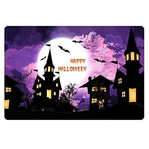 HUGS IDEA Happy Halloween Rugs Dark Castle Pinted Doormat Front Entryway Door Mats -