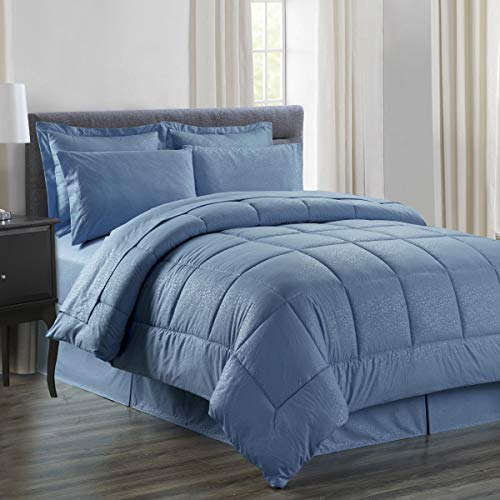 Sweet Home Collection 8 Piece Comforter Set Bag with Embossed Vine Design, Bed Fitted, 1 Flat Sheet, 2 Pillowcases, 2 Shams, Queen, Ocean Blue