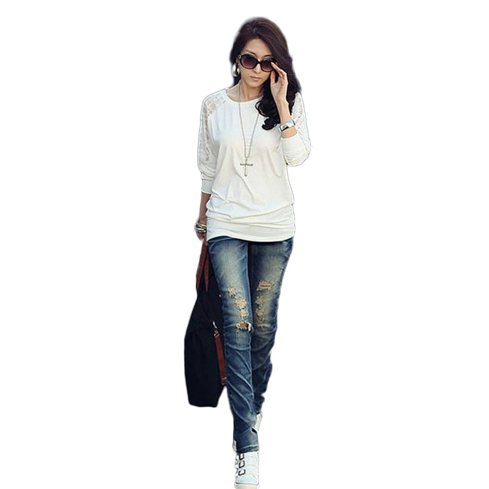 New Fashion 2013 Women's Batwing Top Dolman Lace Loose Long Sleeve T-Shirt Blouse for Women (COLOR : WHITE)