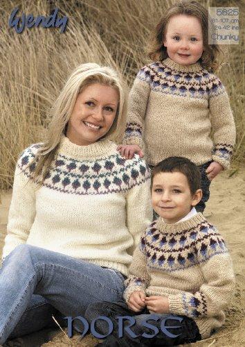 9e3b6d14b9ca Wendy Norse Chunky Fairisle Yoke Sweater Knitting Pattern Adults ...