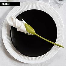 BLOOM – NAPKIN HOLDERS by PELEG DESIGN: Set of 4 Green Stemmed Plastic Twist Flower Buds Serviette Holders Plus White Napkins for Making Original Table Arrangements