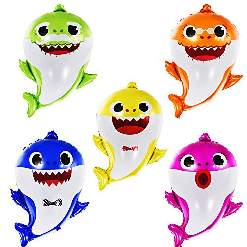 (BUSOHA Shark Helium Balloons 24 inch, 5 Pcs Shark Family Balloons for Sea World Shark Baby Themed Birthday Decorations Baby Shower Party Supplies)