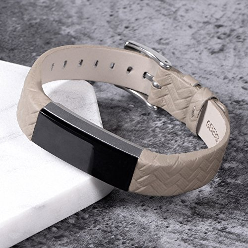 Henoda Leather Bands for Fitbit Alta HR and Fitbit Alta Strap Style,Small Large, No tracker (Weave Grey)