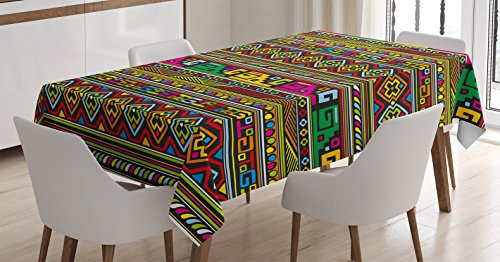 Ambesonne Tribal Tablecloth, Design with Colorful Geometrical Details Borders Vector Themed Print, Dining Room Kitchen Rectangular Table Cover, 60