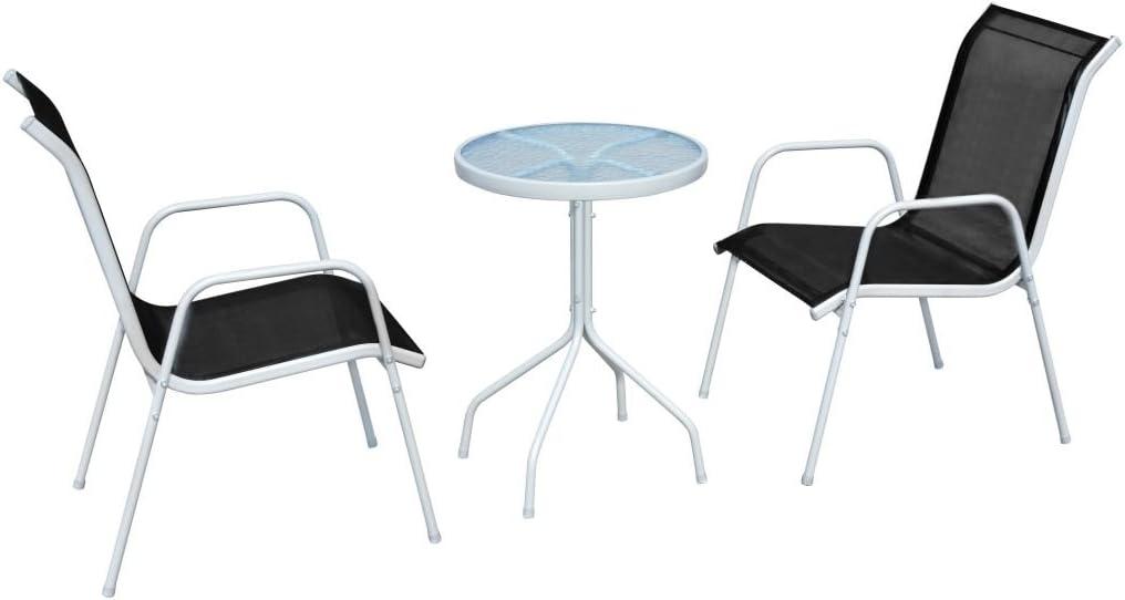 vidaXL Outdoor Bistro Set 3 Piece Steel Black Mesh Garden Table Stacking Chair