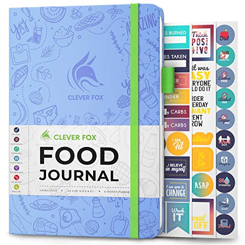 Clever Fox Food Journal - Daily Food Diary, Meal Planner to Track Calorie and Nutrient Intake, Stick to a Healthy Diet & Achieve Weight Loss Goals. Undated - Start Anytime. A5, Hardcover - Light Blue