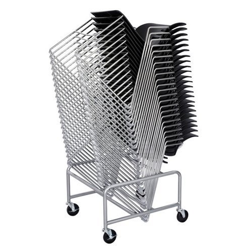 - Mobile Storage Cart for Stack Chairs Silver Finish