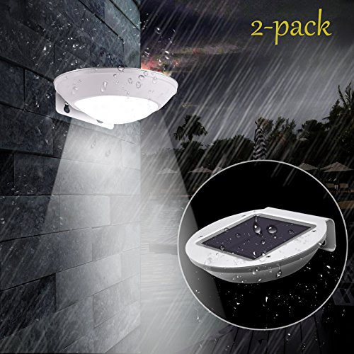 18 Polished Chrome Steps (Solar Lights Outdoor 2 Pack SunRoom 260lm Super Bright Motion Sensor Lights Illumination, Wireless Waterproof Security Lights for Wall, Driveway, Patio, Yard, Garden)