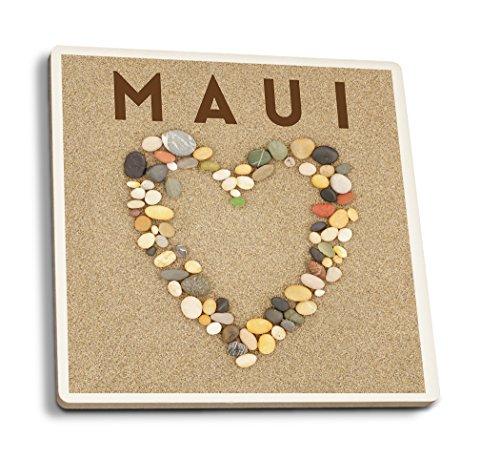 Lantern Press Maui, Hawaii - Stone Heart on Sand (Set of 4 Ceramic Coasters - Cork-Backed, - Photo Coaster Heart
