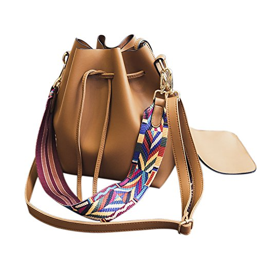 (Women's PU Leather Drawstring Bucket Bag Crossbody Bag Shoulder Bag Purse With Colorful Strap)