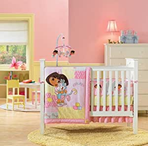 Amazon.com : Dora the Explorer 4 Piece Crib Bedding Set : Baby