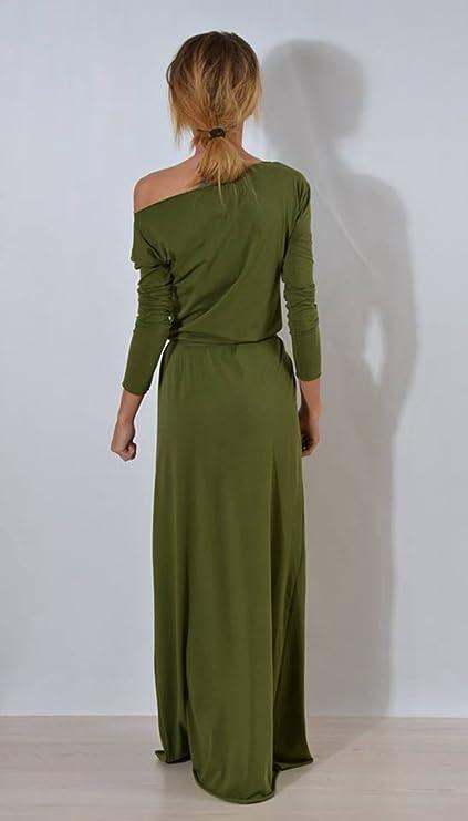 6fe2173c90d220 Sentao Damen Beiläufiges Kleid Elegant Langarm Maxikleid T-shirt Kleid  Lange Partykleid Cocktailkleid: Amazon.de: Bekleidung