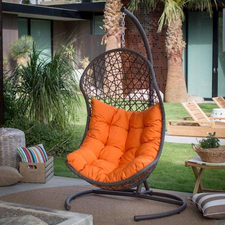 (Resin Wicker Hanging Egg Swing Chair for Indoor Outdoor Patio Backyard, Stylish Comfortable Relaxing with Cushion and Stand,)