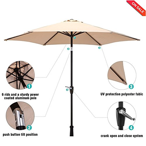 LCH 9 Ft 6 Ribs Patio Umbrella Backyard Garden Aluminum Umbrella Nice Looking Sturdy Pole Smooth Tilt and Crank Lift, Beige