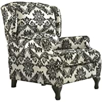 TMS Wing Recliner, White with Black Pattern