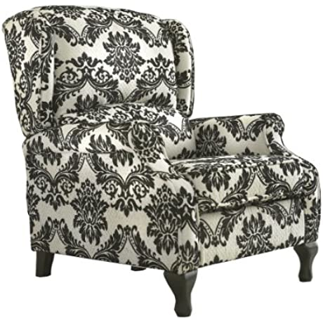 TMS Wing Recliner White With Black Pattern