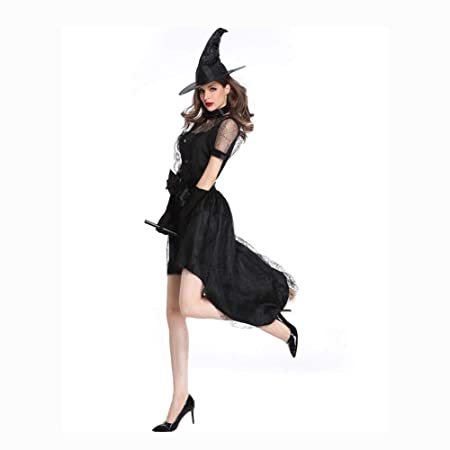 SDCNDAND Disfraz De Bruja Negra Clásica para Mujer con Gorra ...