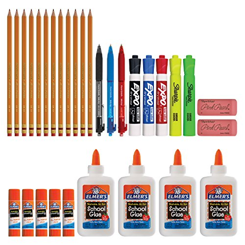 Back to School Supply Kit Sharpie Highlighters Paper Mate Pens EXPO Dry Erase Elmers Glue & More 31 Count
