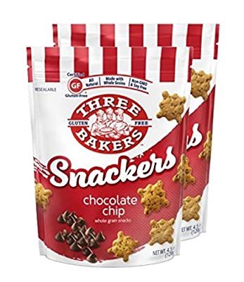 Three Bakers Gluten Free Snackers, Chocolate Chip 4.5 oz- 2 Pack