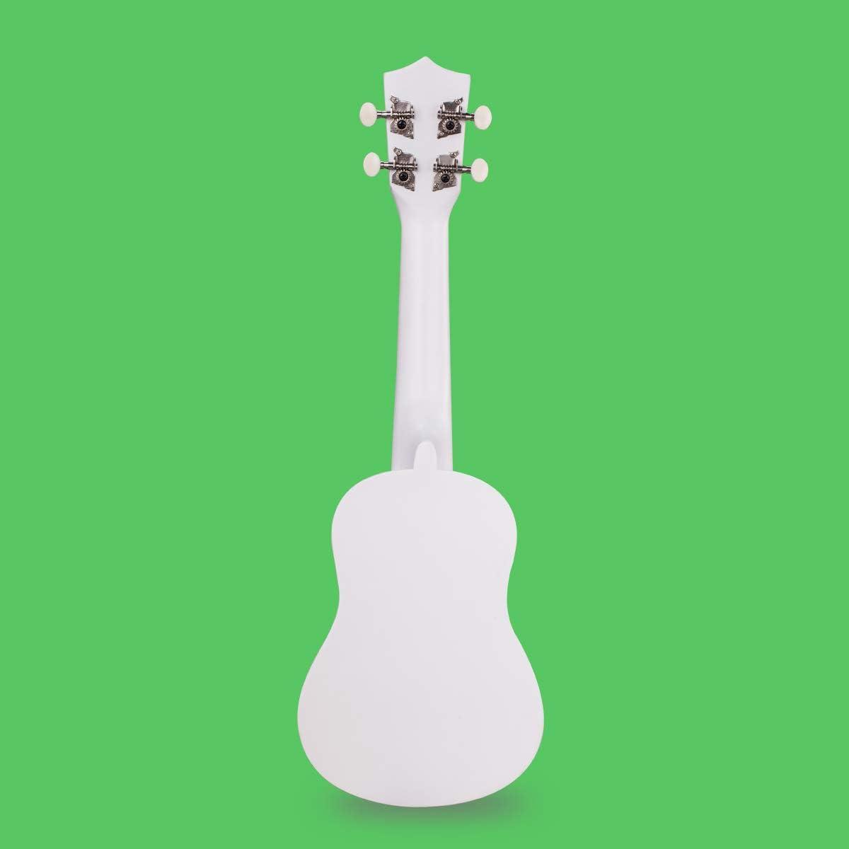 Wooden Ukulele 21 Inch Soprano Hawaiian Guitar Basswood Small Coco White Guitar for Kids Beginner