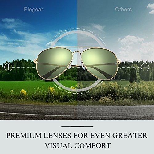 Redondo y Redondo estilo Protección mejor y color Hombre sol 2018 Aviador Cuadrado polarizadas Gafas Gafas níquel de Elegear Verde Marco con Aleación de Aviator Manganeso UV400 con claridad increíble 100 qxC7wPFSH