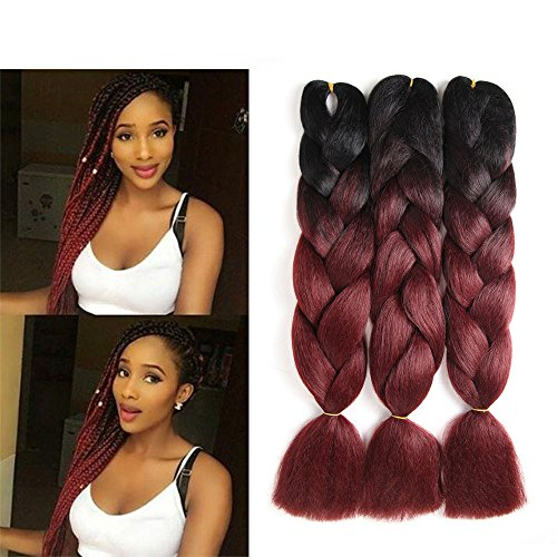 "DunLin 3 Packs 24"" Ombre Jumbo Braiding Hair Two Tone Jumbo Braid Hair Extensions synthetic hair for braiding 100g/pack(24inch, 1B/BUG)"