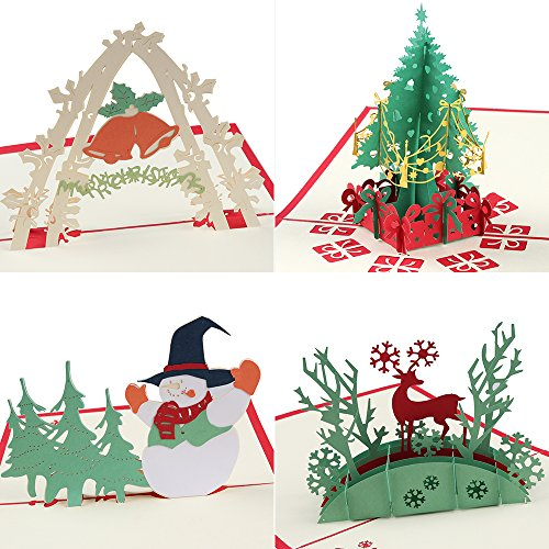 Coohom Pop Up Christmas Card with Envelope Set of 4 - Handmade Paper Craft Get Well Soon Cut out Greeting Card for New Year Holiday Gift - Feature Xmas Tree,Snowman,Reindeer and Bell Paper Craft Cards Christmas
