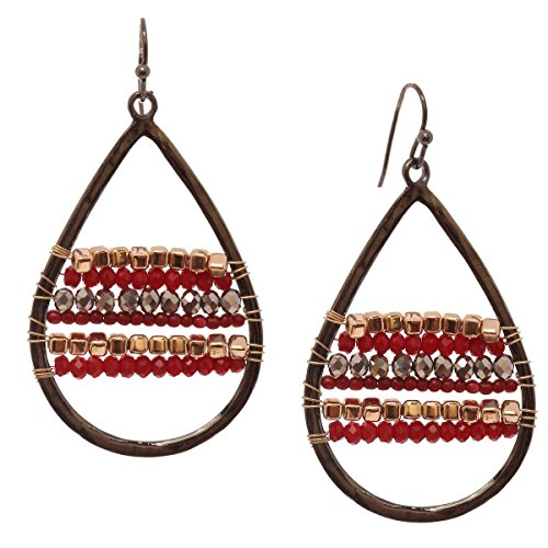 Metal Bead Teardrop Earring (Women's Metal Teardrop Glass Bead Dangle Fashion Pierced Earrings, Burgundy/Black)