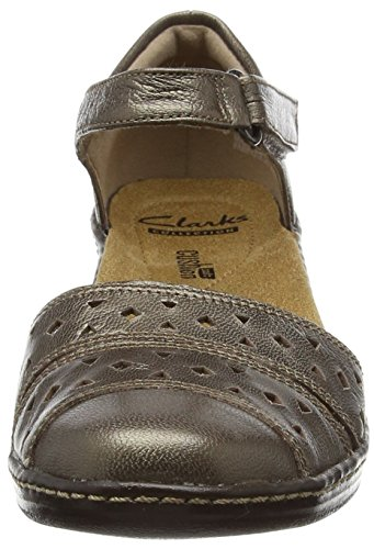 ClarksWendy Laurel - Sandalia con Pulsera Mujer Gris (Pewter Leather)