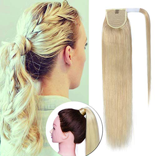 - Wrap Around Ponytail Hair Extensions Human Hair Long Straight 100% Real Remy Hair Pony Tails Hair Extensions For Women #613 Bleach Blonde 20 inches 95g