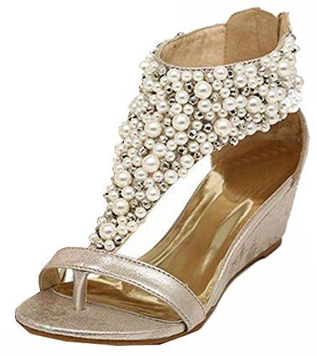 Verão Zipper Cunhas pérola 2015 Mulheres De Sapatos Strass Sandálias Dourados Altos Saltos Pérolas TwgBAq5