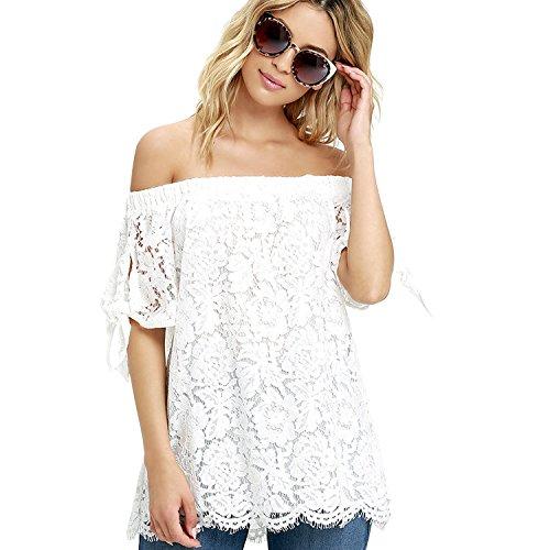 Blouse Nue Bandeau Crochet Courtes Epaule T Shirt LAEMILIA Shirt Femme Tops lgant Manches Dentelle Bustier fan7Oqzw