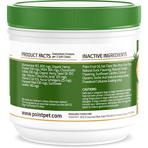 51xqHuwyIUL - POINTPET Advanced Hip and Joint Supplement for Dogs with Organic Hemp Seeds and Oil, Best Glucosamine Chondroitin, MSM, Omega 3-6, Improves Mobility, Reduces Pain and Inflammation, 90 Soft Chews